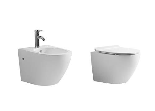 Generico Sanitari sospesi Installazione a Muro Vaso WC Rimless, Bidet e Sedile termoindurente con Chiusura rallentata