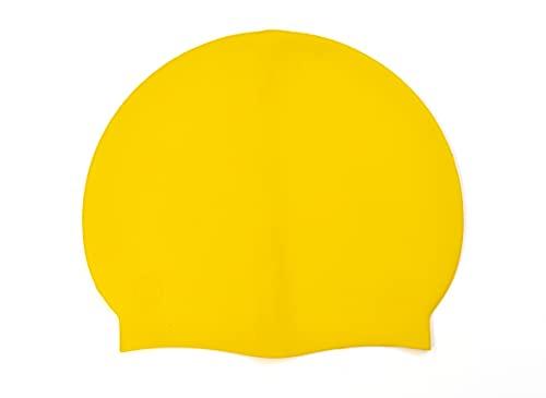 SWIMXWIN Gorro de silicona monocolor para natación, piscina, talla única, sujeción estable (amarillo)