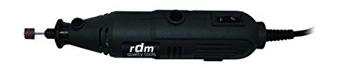 Mini Amoladora profesional RDM Quality Tools 70016, 135W, regulador de potencia, 40 piezas intercambiables, botón de seguridad para el mandril. Color negro.