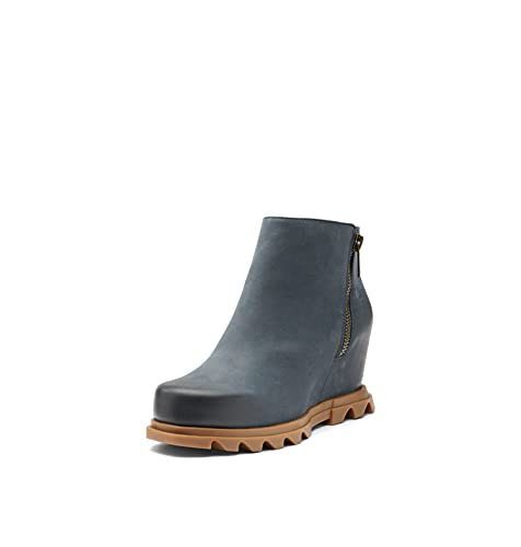 SOREL Women's Joan of Arctic Wedge III Zip Boot — Uniform Blue, Gum 2 — Waterproof Leather Wedge Boots — Size 10.5