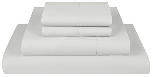 Threadmill Home Linen 300 Thread Count Twin Sheets Sets - 100% Long Staple Cotton Sheets for Twin Size Bed, Luxury 3 Piece Bedding Set with Deep Pocket Fitted Sheet, Smooth Solid Sateen Weave, Silver