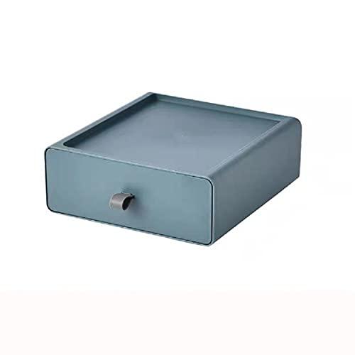 LEIKEI Organizador de Escritorio con cajón, Caja de Almacenamiento de cosméticos, Organizador de tocador, Almacenamiento de Maquillaje versátil, plástico,Blue-3 PCS