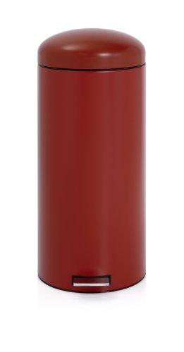 Brabantia 479304 Poubelle à Pédale Retro Bin Motion Control Seau Intérieur Plastique 30 L Deep Red
