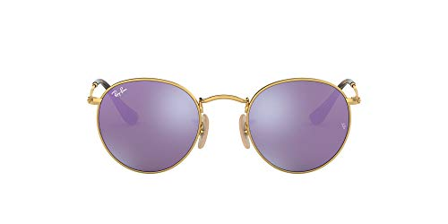 Ray-Ban RB3447N Round Flat Lenses Metal Sunglasses, Shiny Gold/Lilac Flash, 47 mm