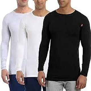 قميص داخلي متين بأكمام طويلة ورقبة مستديرة للرجال، مجموعة من 3