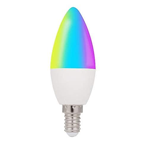 WiFi Smart Bulb RGB + W + C LED Vela Bombilla 5W E14 Luz Regulable Aplicación de teléfono SmartLife/Tuya Control Remoto Compatible con Alexa Google Home Tmall Elf para Control de Voz, 1 Paquete