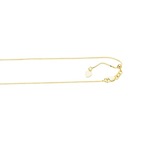 10k .70mm Yellow Gold Adjustable Box Chain Necklace - 22 Inch - Jewelryweb