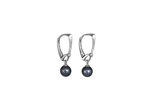 Freshwater 7 mm pearls dangle sterling silver leverback earrings