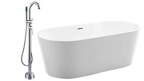 Vasca da bagno bianca di acrilico sanitario MIO -Con rubinetteria 8028, Con sistema di drenaggio, Dimensioni:160 x 75 cm
