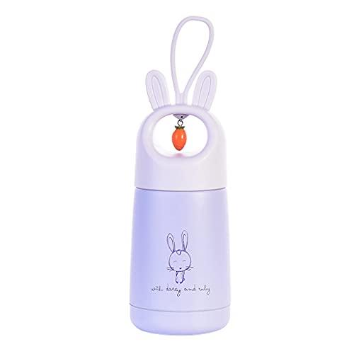 Wenyounge Taza de Aislamiento al vacío portátil para niños de 300 ml con cordón Colgante Lindo Botella de Agua de Conejito de Dibujos Animados Botella de Taza de Acero Inoxidable