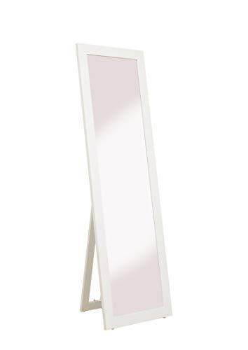 rahmengalerie24 Standspiegel weiß groß Spiegel Ganzkoerperspiegel aus Holz mit Standfuss Ankleidespiegel stehend Stehspiegel 160 cm in 4 Farben Rechteckiger Hochspiegel mit Kunstglass