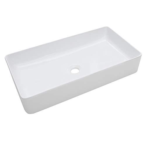 baliv Aufsatzwaschbecken WBA-7090 Keramik | Rechteckiges Waschbecken ohne Hahnloch und ohne Überlauf