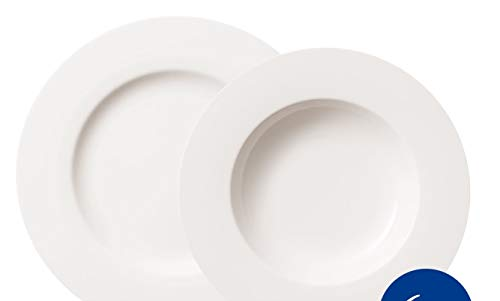 Villeroy & Boch - Set de platos Twist White para hasta 6 personas, 12 piezas, elegante juego de vajilla de porcelana premium, blanco, apto para lavavajillas