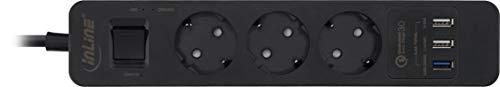 InLine 16491S Steckdosenleiste, 3-fach Schutzkontakt, Überspannungsschutz und QuickCharge USB, mit Schalter, 1,5m, schwarz