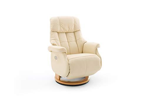 lifestyle4living Relaxsessel in Beige, Echtleder, elektrisch verstellbar mit Akku, Gestell 360° drehbar Natur Braun | Perfekter Sessel mit Relaxfunktion