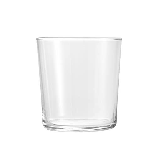 BORMIOLI ROCCO BODEGA Juego de 12 vasos de vidrio templado, Cristal resistente, Ligero, Aptos para el lavavajillas, Made in Italy, Vajilla, Capacidad 370 ml, Dimensiones 9 cm x 8.5 cm, Transparente