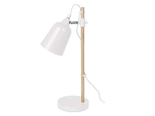 Present Time lm1234lámpara de mesa Wood de Like, metal, 25W, E14, color blanco, 48,5x 12x 12cm