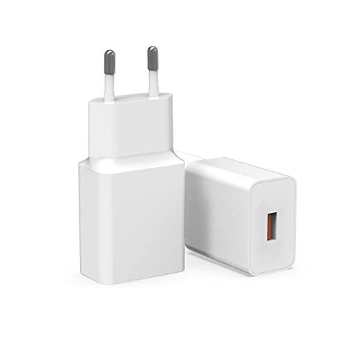 (2 Pack)Milipow 18W Ladegerät Schnellladegerät, QC 3.0 MDY-11-EP 3A kompatibel mit Xiaomi 10 Mi 9, Mi 9T, Mi 9T Pro, Mi Note 10, Redmi Note 9, Note 8, Poco X2, Redmi 8, 8T, 8A, Redmi Note 10 5G