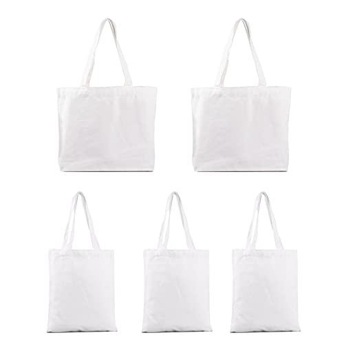 MJIIM 5 Pcs Bolsas de Algodón, Bolsas Reutilizables con dos Patrones de Tamaños Diferentes Bolsas de Comestibles Bolsas Artesanales de Tela para Compras, Transporte, Senderismo