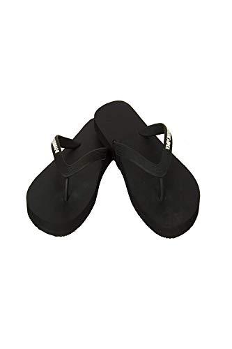 Emporio Armani Ciabatta infradito donna mare piscina beachwear articolo X3QS04 XL827 FLIP FLOP RUBBER + EVA, 00002 Nero - Black, EU 38 - UK 5 - USA 5,5 - CN 242/86