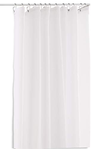 PHOS Edelstahl Design, Duschvorhang Pure, 200x220 cm (H x B), matt weiß, ideal für Duschstange L-Form 95x95 bis 100x100 cm, antibakteriell, Anti-Schimmel-Beschichtung, waschbar, anti-statisch, 220x200