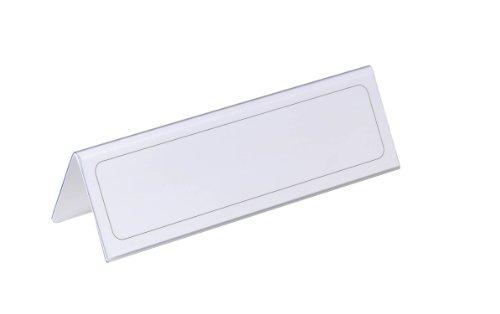 Durable 805219 Placa de identificación de la mesa 61/122 x 210 mm, transparente con incrustación de papel blanco, 25 piezas