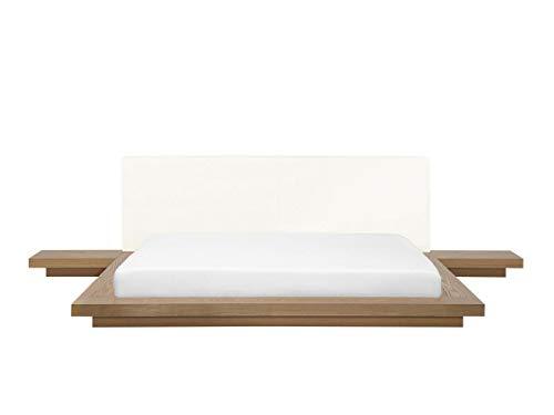 Supply24 Designer Bett Japan Stil Japanisches Holzbett Walnuss Optik Farbe Hellbraun/BUCHE flaches massives Futonbett mit Lattenrost/Lattenrahmen günstig 180x200 cm
