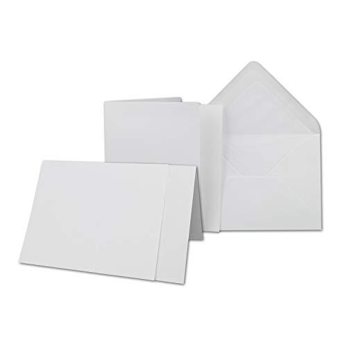 25 x Kartenpaket mit gefütterten Brief-Umschlägen und Einleger - gerippt - DIN A6/C6 - Weiss - 10,5 x 14,8 cm - Nassklebung - NEUSER PAPIER