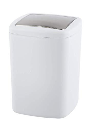 WENKO Schwingdeckeleimer Barcelona L Weiß - Kosmetikeimer, absolut bruchsicher Fassungsvermögen: 8.5 l, Kunststoff (TPE), 20.5 x 28.5 x 20.5 cm, Weiß