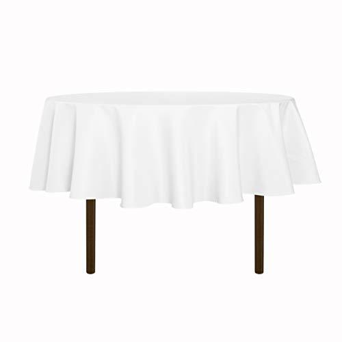 sancua Round Tablecloth - 60 Inch - Water Resistant Spill Proof Washable Polyester Table Cloth Decorative Fabric Table Cover for Dining Table, Buffet Parties and Camping, White