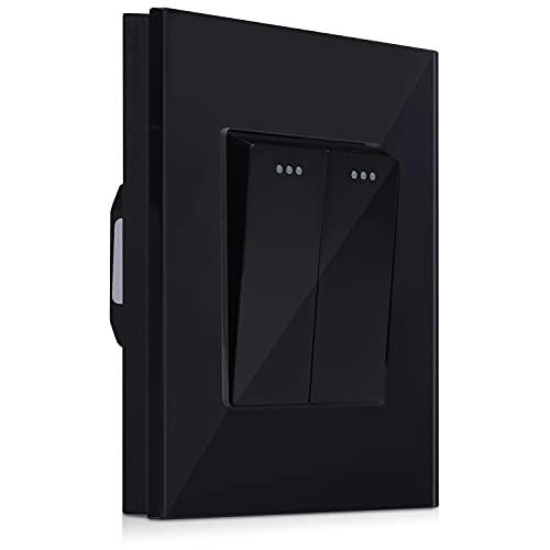 Navaris Interruptor doble para pared con marco de cristal - Elegante marco de cristal con 2 interruptores para luz - Placa empotrable en negro