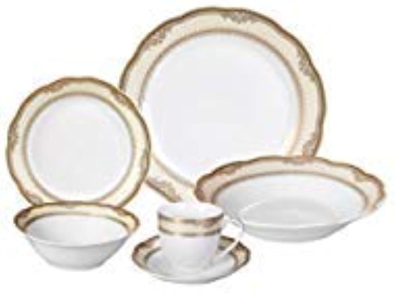 Lorren Home Trends Isabella-24 24 Piece Isabella Design Porcelain Wavy Edge Dinnerware Set, White