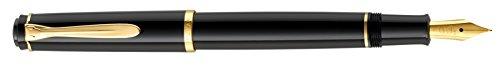 Pelikan 930446 Patronenfüllhalter P200, Feder M, vergoldete Edelstahlfeder, schwarz