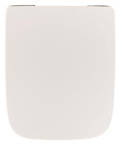 Keramag WC-Sitz Renova Nr.1 Plan, 572110000, WC-Deckel in eckiger Ausführung, Edelstahlscharniere, Duroplast, Weiß, 03869 0
