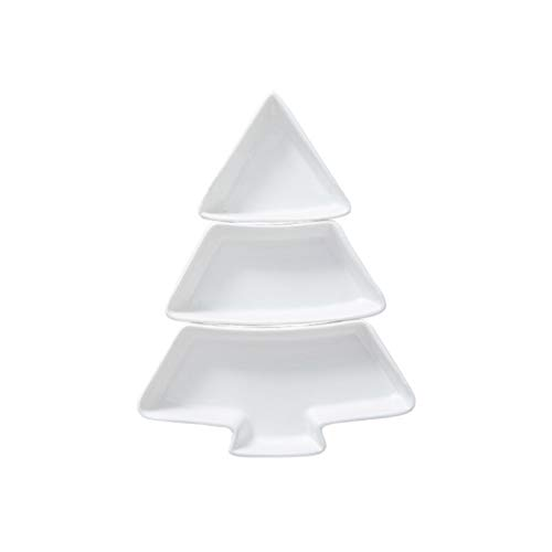 Hemoton Christmas Tree Snack Tray Ceramics Fruit Serving Plate with Sections Appetizer Serving Platter Sauce Dish (White)