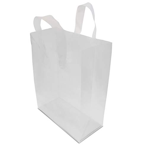 Frosted Clear Plastic Bags With Handles, Shopping Bags, Gift Bags, Take Out Bags With Cardboard Bottom 100 Pcs. 8x4x10'