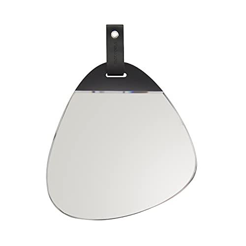 Cloudnola Espejo de pared Rock – Espejo de pared forma natural – 30 x 31 cm – biselado y sin marco – Parte trasera de madera – Suspensión de cuero – Disponible con espejo claro y rosa – Transp