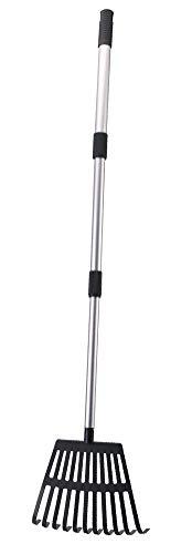 "OUTCREATOR Small Garden Rake,22"" - 40"" Lightweight Aluminum Telescoping Handle 11 Tines Shrub Rake,8"" Inch Wide,for Kids Leaf Rake,Dog Pooper Scooper"