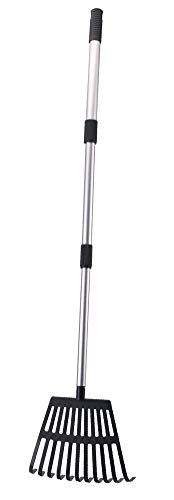 "OUTCREATOR Garden Leaf Rake,22"" - 40"" Lightweight Aluminum Telescoping Handle 11 Tines Shrub Rake,8"" Inch Wide,for Kids Leaf Rake,Dog Pooper Scooper"