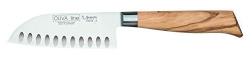 Burgvogel Solingen Santokumesser 13 cm geschmiedet Olivenholz, Oliva Line, rostfrei, deutsches Japanisches Kochmesser mit Kullenschliff, hell, scharf