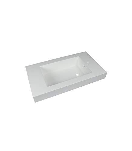 Porcelanosa - Lavabo Rectangular De Resina Blanco Acabado Brillo   Dimensiones : 101 x 56,5 x 21,5 cm   Derecha