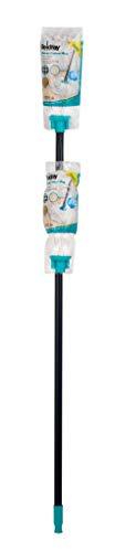 Beldray Fregona de Microfibra con pulverizador Recargable LA032133TQEU, 350 ml, Turquesa, algodón, Mopa Redonda