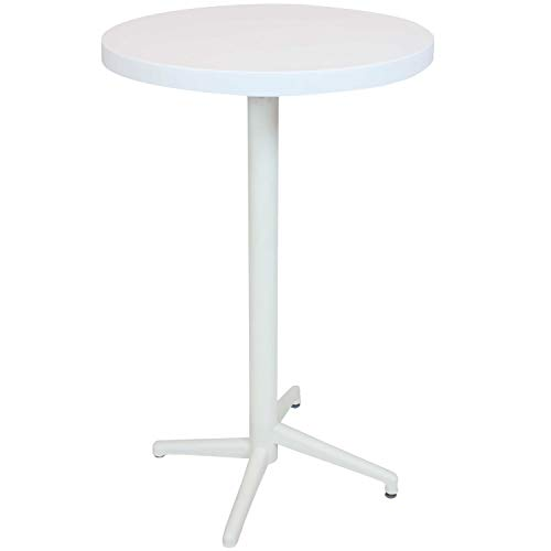 Sunnydaze All-Weather Round Plastic Patio Bar Pub Table - Foldable Design - Commercial Grade - Balcony, Deck, Home Bar, Indoor or Outdoor - White - 28-Inch