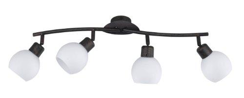 Trio Leuchten LED-Balken rostfarbig antik, inklusiv 4x E14, 4 Watt LED, Breite 60 cm, Glas opal matt weiß 824810428