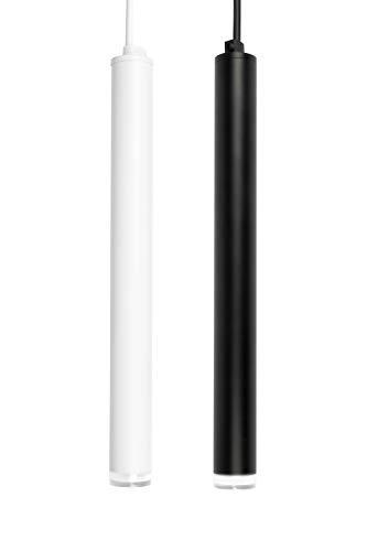 Illuminazione a sospensione a soffitto, lampada a sospensione cilindriche a luce moderna bianca calda 3000K (Nero, 30cm)