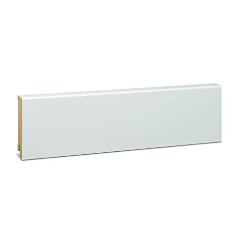 KGM Sockelleiste weiß 80mm | Modern Fussleiste weiss ✓MDF Leiste ✓für PVC Vinyl & Laminat ✓weiße Leisten✓unsichtbare Clip Montage |gerade Sockelleisten 16x80x2500mm