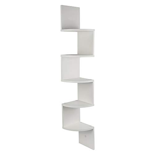 JEOBEST Étagère Murale Style Zigzag Étagère d'angle à 5 Niveaux, Étagères de Rangement Autoportantes, pour Cuisine, Chambre, Salon, Bureau (Blanc)