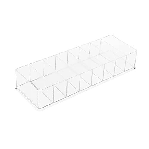 LOVIVER Caja organizadora transparente de plástico de escritorio con caja de almacenamiento de cable de 8 celdas para dormitorio de oficina con cable de datos