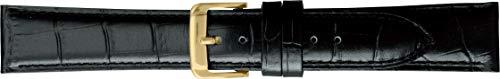 BAMBI バンビ 時計バンド 牛革 型押 スコッチガード 撥水 ブラック 18mm 美錠 ゴールド BKM051AP