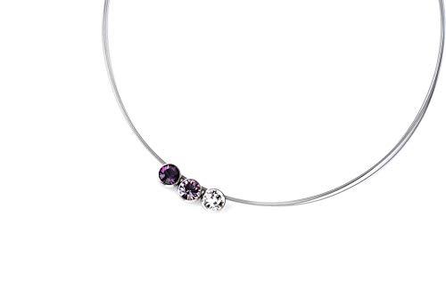 Hegedüs Damen Collier aus Titan mit 3 Juwelenkugeln Amethyst